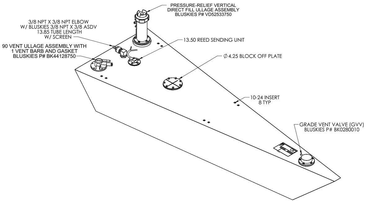 32 gallon permanent below deck boat fuel tank Universal Fuel Tank Sender boat fuel tank right front � click to enlarge